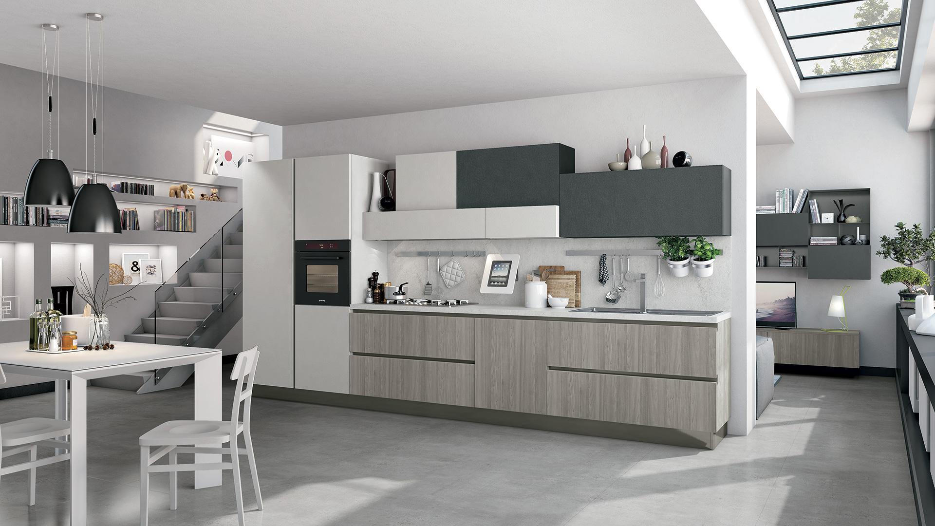 Cucine Moderne Bianche E Grigie Lube.Cucine Moderne Bianche E Grigie Lube